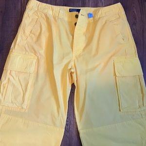 Euc Polo yellow beach cargos sz 36x32